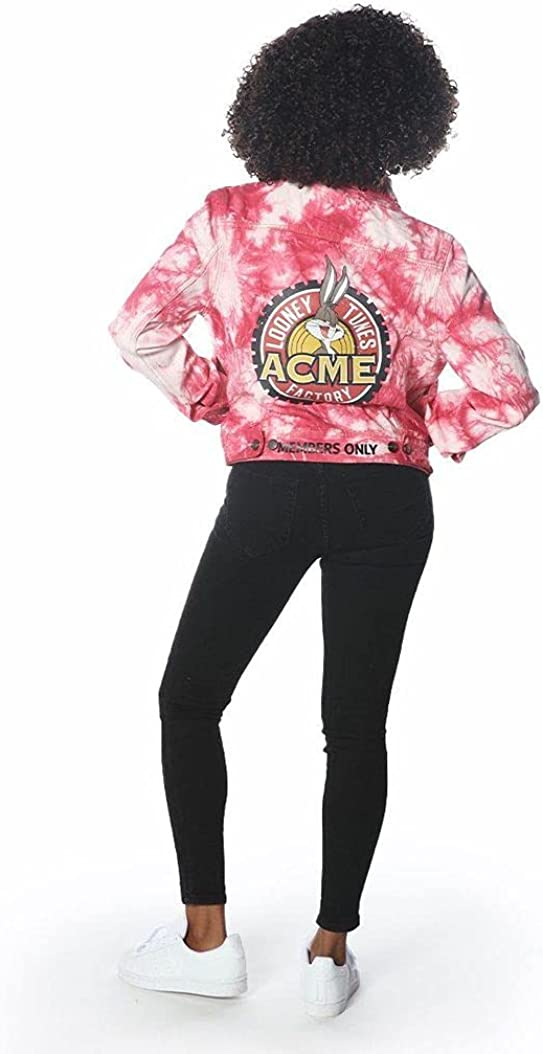 Members Only Women's Bull Denim Looney Tunes Trucker Jacket-Pink M