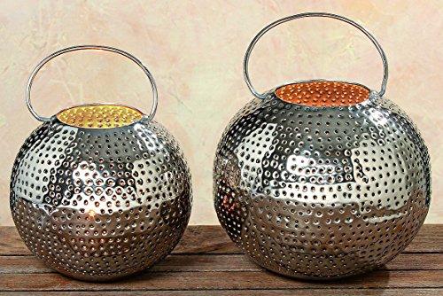 Großes Windlicht Ø 20cm Teelichthalter orient Kerzenhalter für Stumpenkerze Teelichter silber Laterne rund