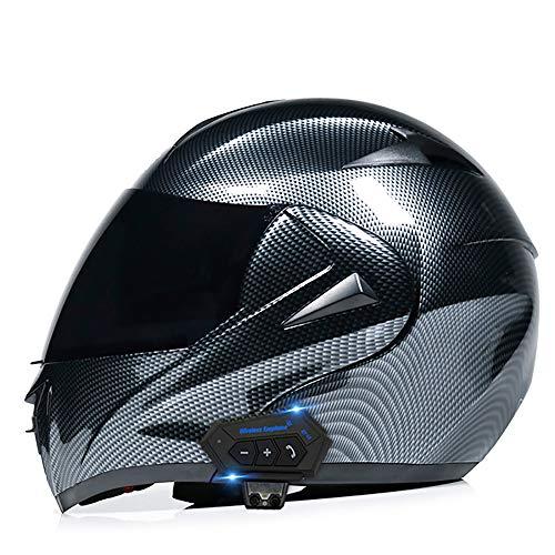 TongNS2 Caschi Bluetooth per Moto, Caschi integrali modulari con Doppia Visiera apribile, Casco Approvato DOT, Sistema di Comunicazione Integrato Mp3 FM Integrato Lenti Colorate