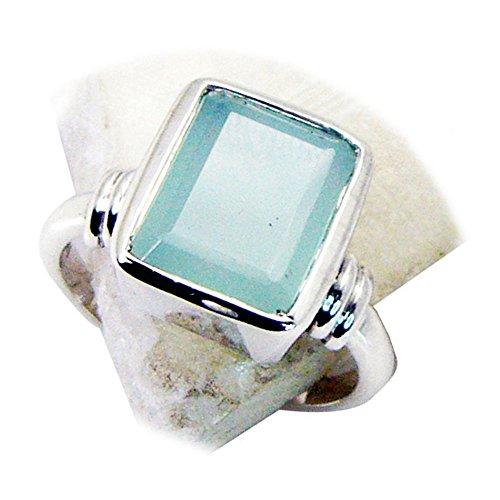 CaratYogi Silber Natürlicher Aqua Chalcedon Ring Smaragd-Cut Handmade Lünette Stil Runde Form Größe 67 (21.3)