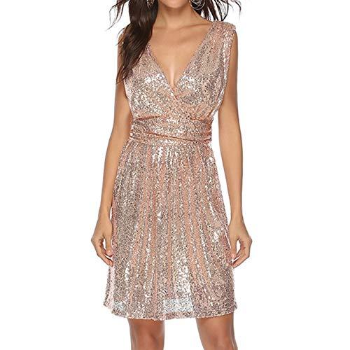 STLYQ Frauen Kleid Neue Marke Hohe Taille Pailletten Kleid Ärmellos V-Ausschnitt Beiläufige Frauen Pailletten Party Kleid Modische L Apricot-Pink