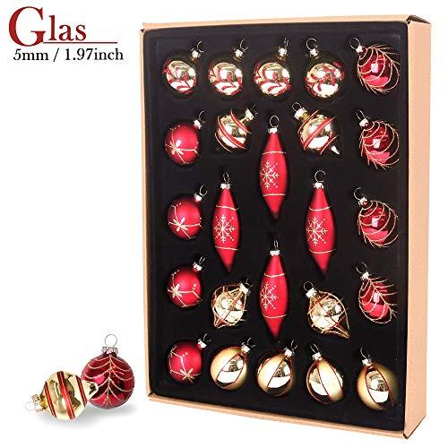 Valery Madelyn Weihnachtsglaskugeln Set, 24Stk. 5-9,9 cm Rote und Golde Weihnachtskugeln Ornamente für Christbaumschmuck (traditionell)