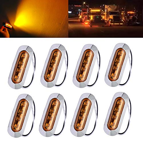 8pcs 4 inch Round 48-LED Double Face Red Stop Brake Amber Turn Signal Indicator Side Maker Fender Reflective Stud Mount Compatible with Kenworth Peterbilt Freightliner Volvo Trucks