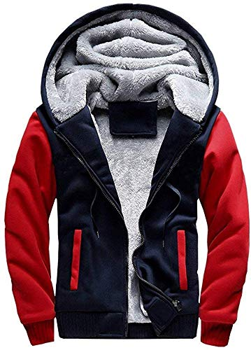 VSUSN Herren Kapuzenpullover mit Reißverschluss Langarm Kapuzenjacke Winter Warm Fleece-Innenseite Sweatshirt Plus Dicke Fleecejacke Sweatjacke Mit Kapuze(Blau&Rot, 3XL)