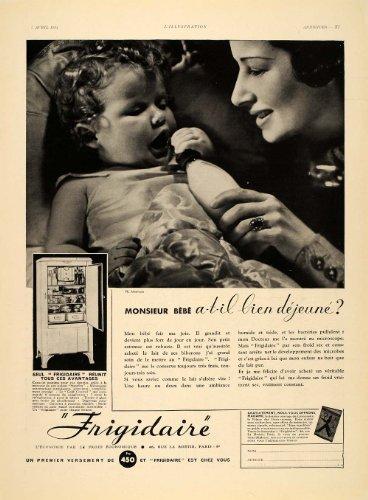 1934 French Ad Vintage Frigidaire Refrigerator Baby - Original Print Ad