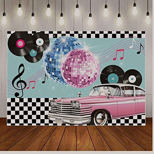 Happy Easter Background Photography Background Music Uxurious Car Disco 90 Party Black White Plaid Backdrop Birthday Party Decor Photo Studio 7X5Ft