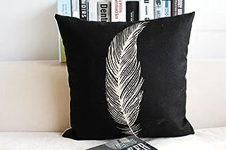 CayCay Cojín algodón Lino casa Nordic Moderno Almohada Minimalista Negro y Blanco Pluma en Forma de corazón Caballo Almohada sofá Almohada Caja de Almohadas 45x45cm 1