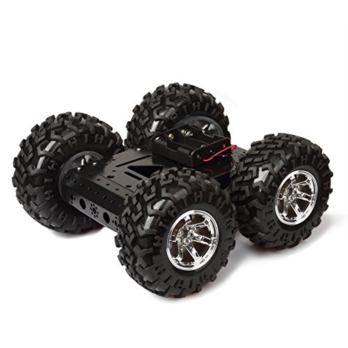 4WD Smart Car Chassis Kit – Non Inflatable Rubber tire + Iron Chassis + 4pcs DC 12V Motors for Arduino Raspberry Pi DIY Obstacle Avoidance Smart Car walking on flat road 10.6x10.6x4.7 inches