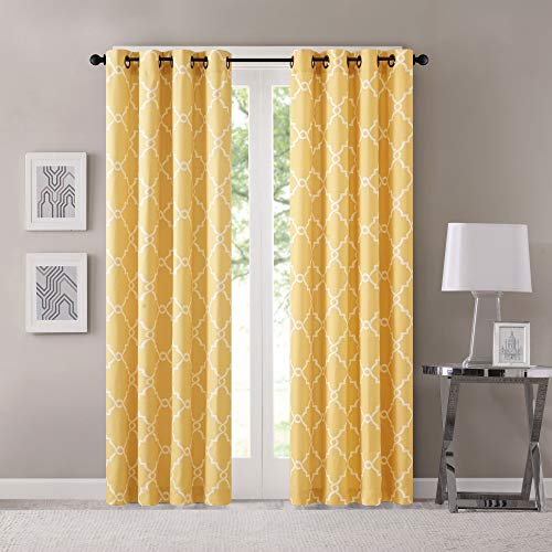 Madison Park Saratoga Window Curtain Light Filtering Fretwork Print 1 Panel Grommet Top Drapes/Valance for Living Room Bedroom and Dorm, 50x84, Yellow