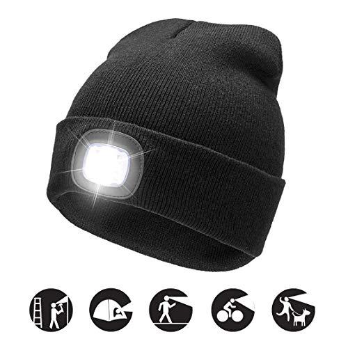 COTOP Unisex 4 LED Stirnlampe Beanie Bap, Winter Warme Strickmützen für Herren Hände frei Beleuchtete Beanie Mütze mit 3 Helligkeitsstufen für Wandern in der Nacht, Camping, Dog Walking, Radfahren