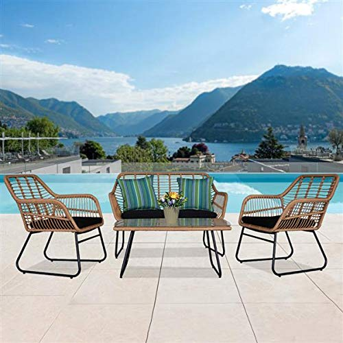 Garden Furniture Set, 4 Piece Wicker Rattan Garden Chair Table, Faux Rattan Bistro Set of 2 Armchairs with 2 Cushions + 1 Table with Tempered Glass + 1 Loveseat Chair (Garden Furniture Set of 4)