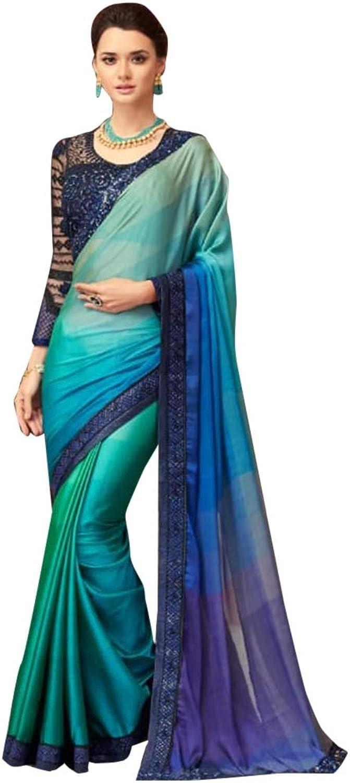 bluee Stylish Bollywood Designer Satin Sari with Net Blouse for Women Evening Cocktail dress Indian Saree 7584