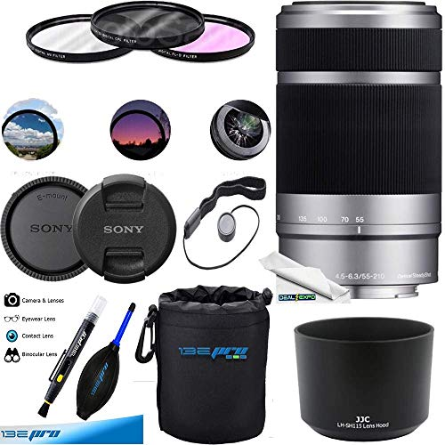 Sony E 55-210mm (SEL55210) F4.5-6.3 OSS Lens for Sony E-Mount Cameras (Silver) Deal-Expo Bundle.