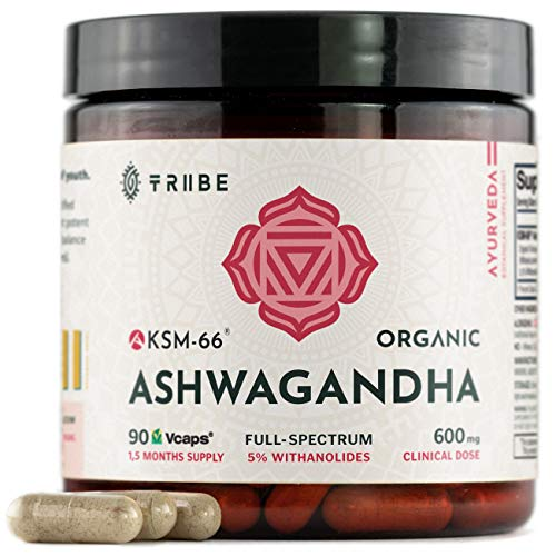 Full-Spectrum KSM-66 Ashwagandha 5% Withanolides - Pure Organic Root Extract - NO Additives - 90 Vcaps - Boost Immunity Stress Relief Adrenal Support Thyroid Support Cortisol Manager