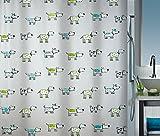 Spirella 180 x 200, Multicolor colección Doggi, Cortina de Ducha Textil, 100% Polyester, PEVA
