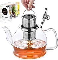 teiera, teiera vetro con infusore per tisane, stntus teiere in vetro borosilicato da 800ml per tè sfuso e tè in fiore, infusiera vetro con filtri, microonde sicuro (800ml)