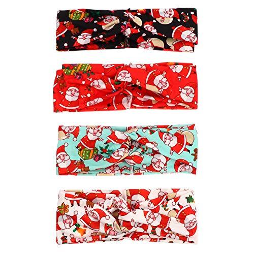 PIXNOR 4Pcs Diademas Navideñas Bandas para El Cabello Anudadas Cruzadas Envolturas para La Cabeza Elástica Bandas para El Sudor Accesorios para El Cabello para Las Vacaciones de Navidad