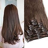 TESS Echthaar Extensions Clip in Haarteile Haarverlängerung Standard Weft Grad 7A Lang Glatt guenstig Remy Human Hair 8 Tressen 18 Clips 45cm-100g(#4 Schokobraun)