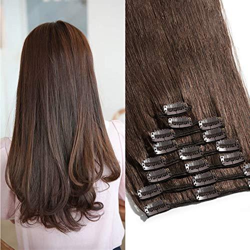 TESS Clip in Extensions Echthaar Haarteile Haarverlängerung Standard Weft Grad 7A Lang Glatt guenstig Remy Human Hair 8 Tressen 18 Clips 33cm-80g(#4 Schokobraun)