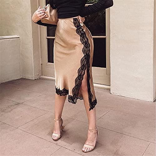 Falda Elegante Ajustada para Mujer Falda Midi Informal de Seda con Abertura Lateral con Encaje de Cintura Alta Que Fluye Falda de Fiesta de Trabajo de Verano sólido (Desnudo, L)