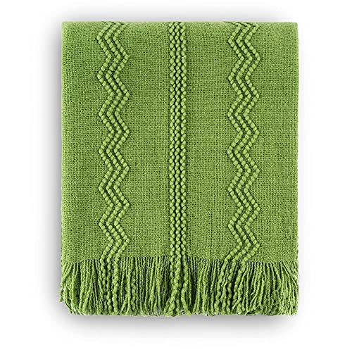 BATTILO HOME Knit Throw Blanket Soft Lightweight Textured Decorative Blanket with Tassel for Bed, Couch (Green, 50'x60')