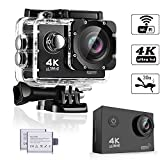 Action Kamera, Weyty Sports Kamera 4K Ultra HD Unterwasserkamera 16MP 170° Weitwinkel WiFi...