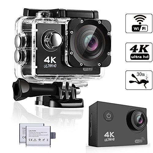 WeyTy Action Kamera, Sports Kamera 4K Ultra HD Unterwasserkamera 16MP 170° Weitwinkel WiFi Fernbedienung Action cam mit 2 wiederaufladbare batterien (1350mAh) und kostenlose Accessoires