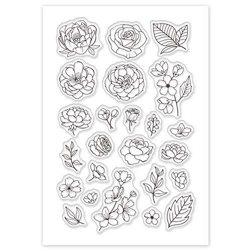 GLOBLELAND Chic blomma och blad mönster akrylstämplar vintage stil gummistämplar silikon klara frimärken för scrapbooking fotokort albumdekor, 160 x 110 mm
