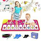 AmzKoi Tanzmatte Kinder, Klaviermatte, Rosa Musikmatte, Spiel Keyboard Matten, Klaviertastatur Spielzeug Pianomatte mit 8 Instrumenten und 9 Tasten, für Mädchen und Jungen von 3-8 Jahren (100*36cm)