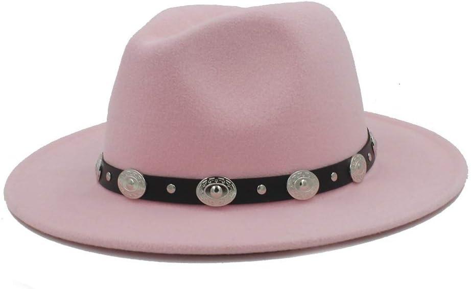 HXGAZXJQ Men Women Winter Fedora Hat with Punk Belt Panama Hat Pop Wide Brim Church Fascinator Hat Wild Hat Size 56-58CM (Color : Pink, Size : 56-58)