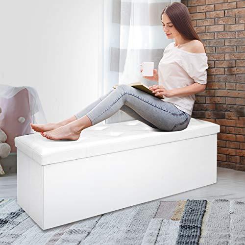 COSTWAY Sitzbank bis 300kg belastbar, Sitzbox Sitzwürfel Bank faltbar, Sitzkasten Polsterhocker Truhe, Sitztruhe PVC-Leder, Aufbewahrungsbox 114 x 38 x 38cm (Weiß) - 3