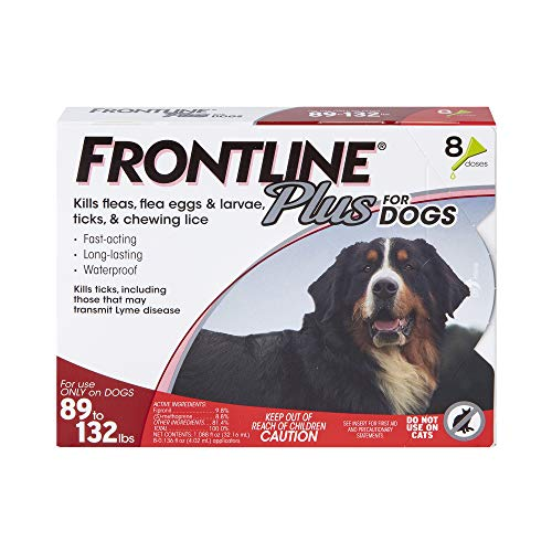 FRONTLINE Plus Flea and Tick Treatment for Dogs (Extra Large Dog, 89-132 Pounds, 8 Doses)