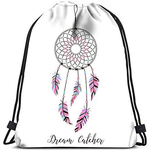 RJ Unique Drawstring Bag,Indianer Amulett Traumfänger Mit Federn Und Perlen Boho Style Wäschesack Gym Yoga Bag