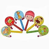 Ouneed - Baby Spielzeug Kinder Musikinstrumente Spielzeug Rasseln Handglocken Kinder Holz Spielzeug Holz Spielzeug Handglocke Mit Glocken 1 Zufällige Farbe