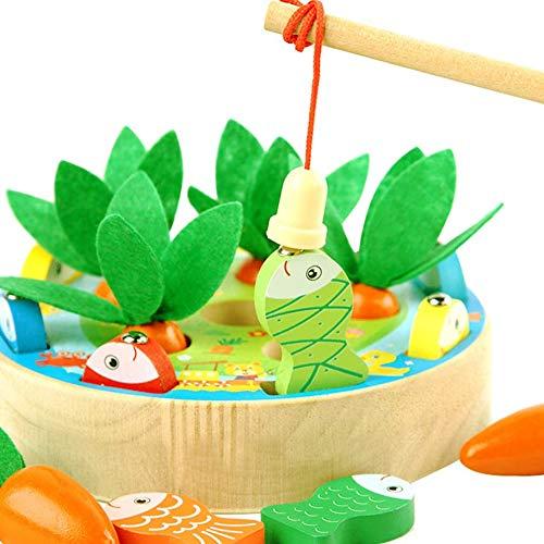 Afufu Holzspielzeug ab 1 2 3 4 Jahren, Kinderspielzeug Montessori Spielzeug Lernspielzeug Motorik Sortierspiel Karottenernte Angelspiel, Pädagogisches Spielzeug Holz für Kinder Baby Jungen und Mädchen