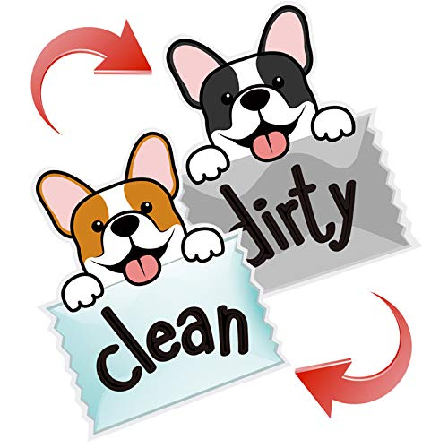 Refrigerator Magnetic Stickers, Soft Dishwasher Magnet Sign'CLEAN DIRTY' Sticker Double Sided Cute Dogs Dishwasher Accesories Kitchen Decoration(Dog A 3.3'x2.8')