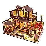 September-Eur ope -DIY - Kit de bricolaje para patio de estilo japonés 1:24 en miniatura de madera creativa casa de muñecas montado para regalo de cumpleaños con luces LED