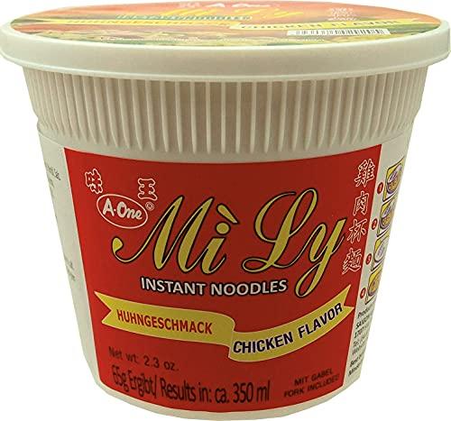 A-One Instant-Cup-Nudeln (im praktischen Becher, schnelle Zubereitung - in 3 Min.) Huhngeschmack, 12er Vorteilspackung (12 x 65g)