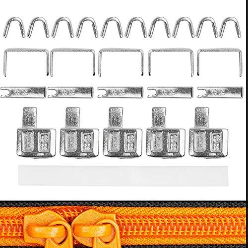 Reißverschluss Reparatur Set, für RV Größe #3, Endstücke oben + unten, Ersatz Zubehör für NYLON Reißverschlüsse, 5-Pack, Reißverschluss Stopper für oben und unten, für Jacke, Sweatshirt, Geldbörse