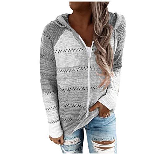 Womens Long Sleeve Knit Sweater Full Zip Hoodie Jacket Lightweight Drawstring Striped Color Block Sweatshirt Coat