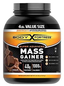 Body Fortress Super Advanced Mass Gainer Whey Protein Powder Gluten Free Chocolate 4 Lb