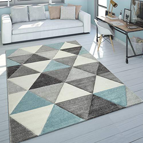 Paco Home Kurzflor Teppich Wohnzimmer Türkis Grau Pastellfarben Rauten Dreieck Design, Grösse:160x230 cm
