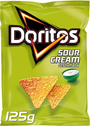 Doritos Sour Cream – Sour Cream Tortilla Nachos – Herzhafter Snack zum Knabbern aus Mais – 9 x 125g