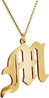 Women's Old English Initial Necklace 18K Gold Plated Stainless Steel Letter Pendant Gift