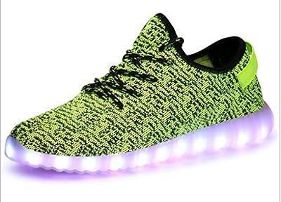 Littlepanda Women Men LED Shoes Luminous Flashing Sneakers USB Charging Light up Casual Flat Shoes (US 9.5 Woman/US 8.5 man/26.5CM/CN43, Green)