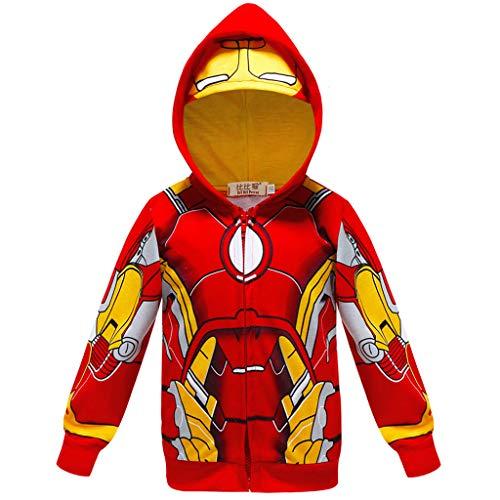 YEMAO Kinder-Superheld Iron Man Hoodie Taschen Zipper Langarm-Sweatshirt-Jacke für Junge Mädchen,Red-150