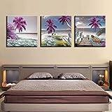 SJYHNB Cuadros Modernos Impresión de Imagen Artística Digitalizada Púrpura y árbol de coco y barco Lienzo Decorativo Para Salón o Dormitorio 60 x 60 cm x 3 Paneles (con Marco)
