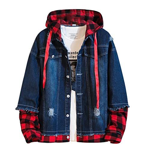 Tipo A ModaFalso De Dos Piezas Abrigo De Jeans Hombres Moda Gorra A Cuadros Abrigo Suelto