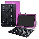Acer Iconia One 10 B3-A50 Bluetooth Teclado Funda,LFDZ [Detachable] Bluetooth Teclado Ultra Slim PU Cuero con Soporte Caso Case Funda para 10.1' Acer Iconia One 10 B3-A50 Tablet,Púrpura