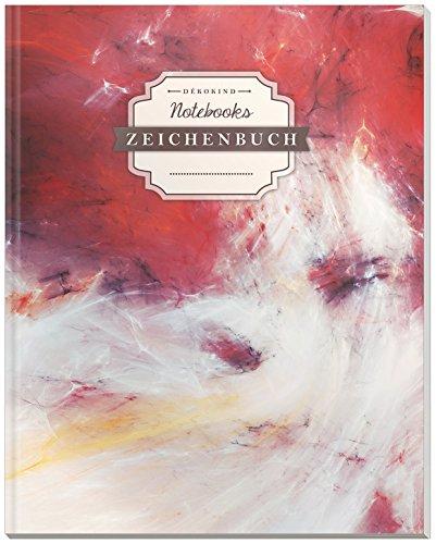 DÉKOKIND Zeichenbuch   DIN A4, 122 Seiten, Register, Vintage Softcover   Leeres Buch zum Selbstgestalten   Motiv: Wischtechnik